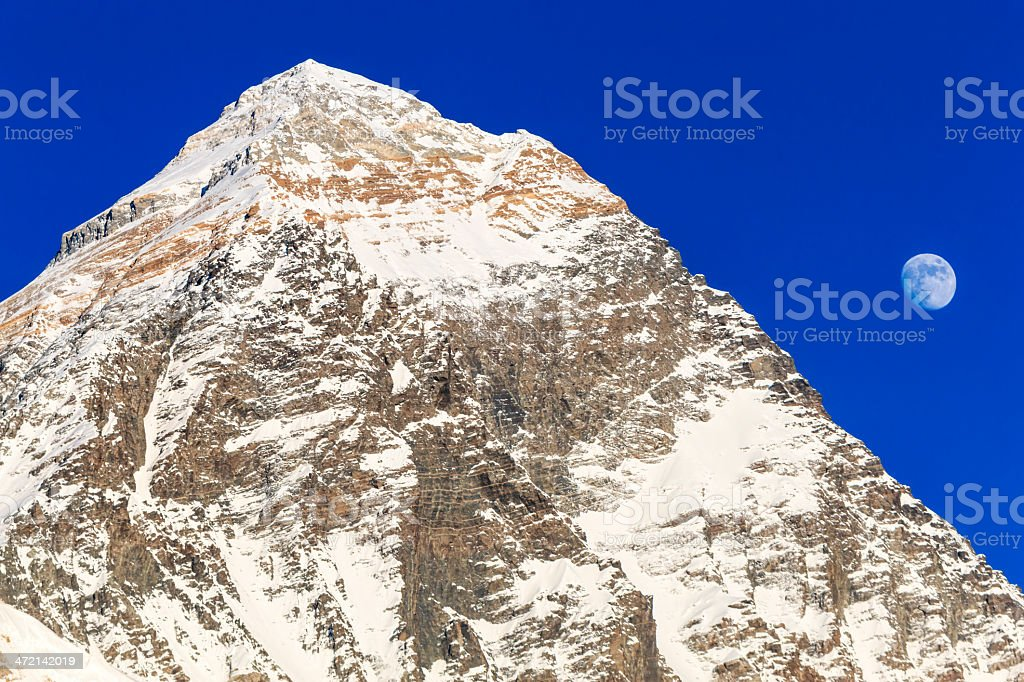 Moon over Mount Everest - view from Kala Pattar royalty-free stock photo