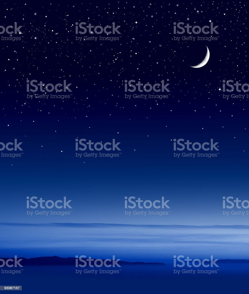 Moon over Ocean stock photo