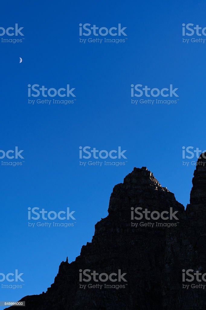 Moon Over Pearl Mountain stock photo