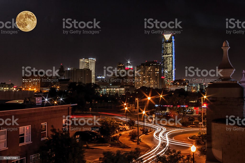 Moon over the City stock photo