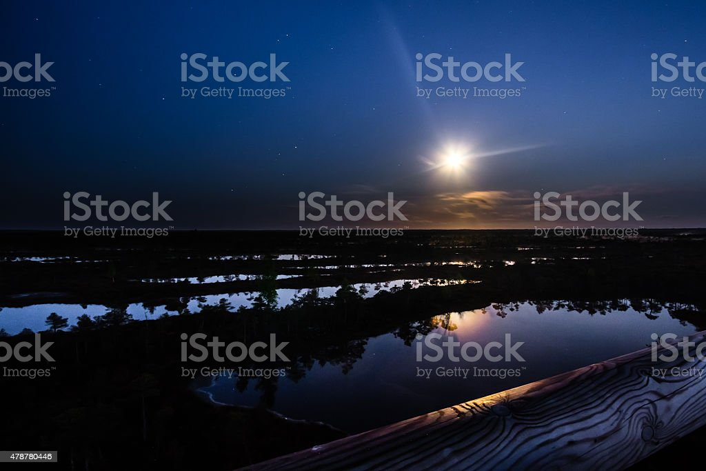 Moon over the land stock photo