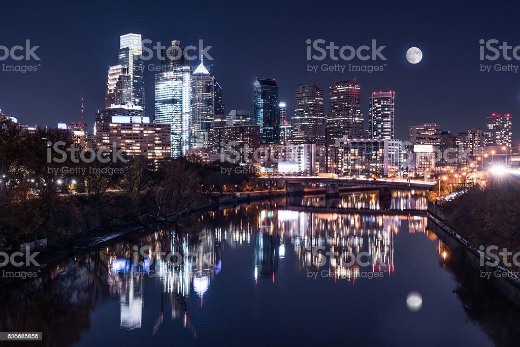 Moon over the Philadelphia Night Skyline stock photo