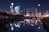 Moon over the Philadelphia Night Skyline