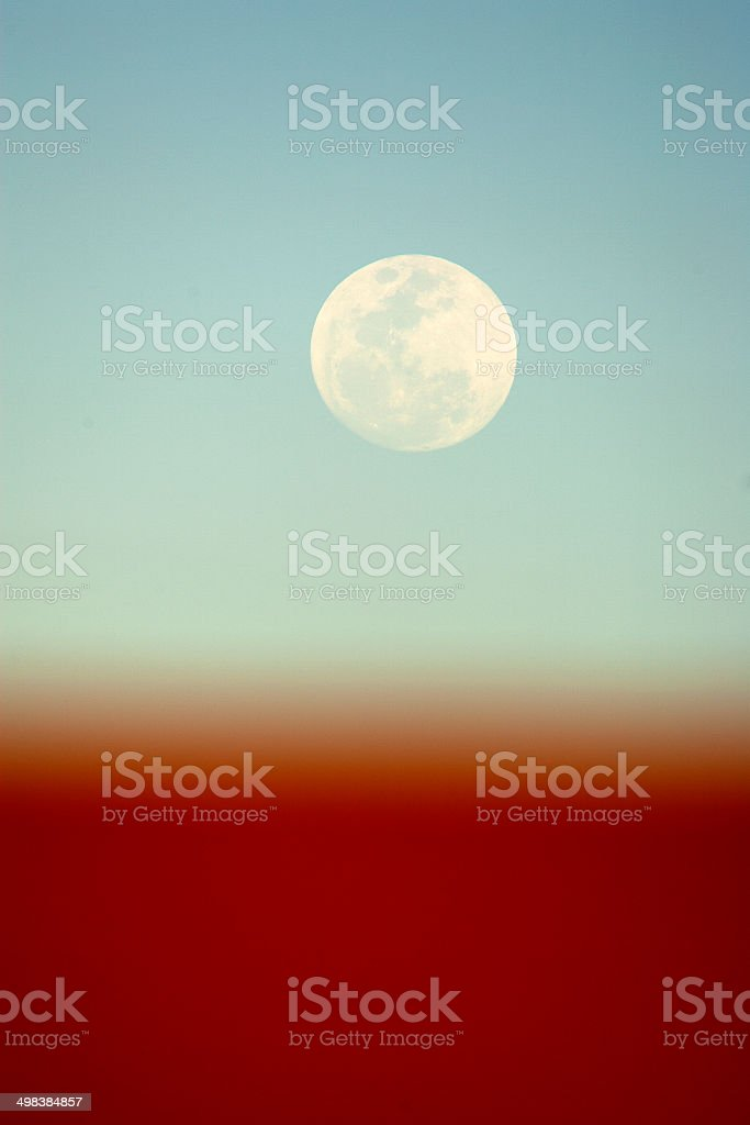 Moon over the Simpson Desert royalty-free stock photo