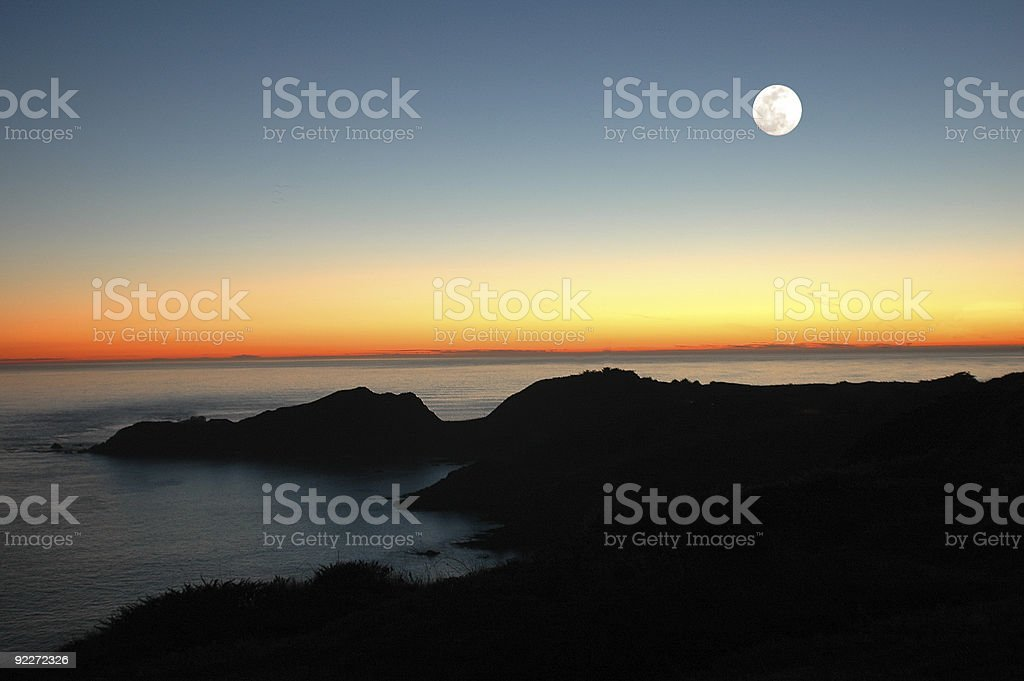 Moon Over The Sunset royalty-free stock photo