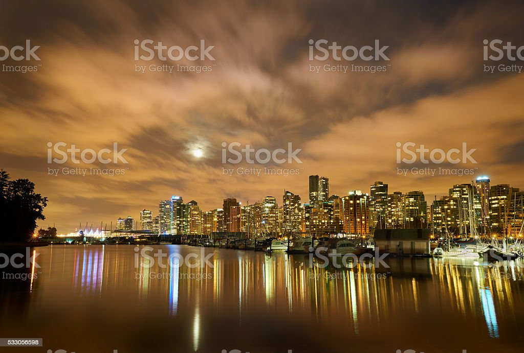 Moon Over Vancouver Night stock photo