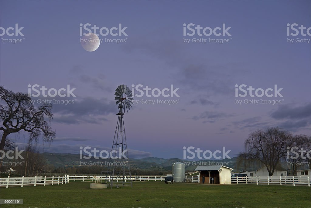Moon over Windmill royalty-free stock photo