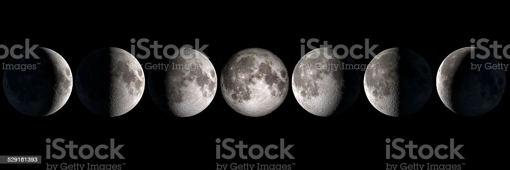 Moon phases, elements of this image are provided by NASA stock photo
