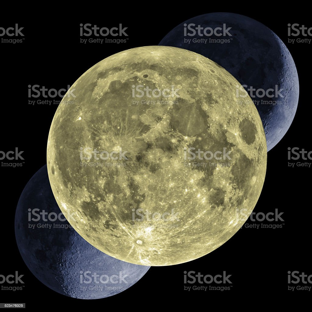 Moon Phases Mosaic - Isolated on Black stock photo