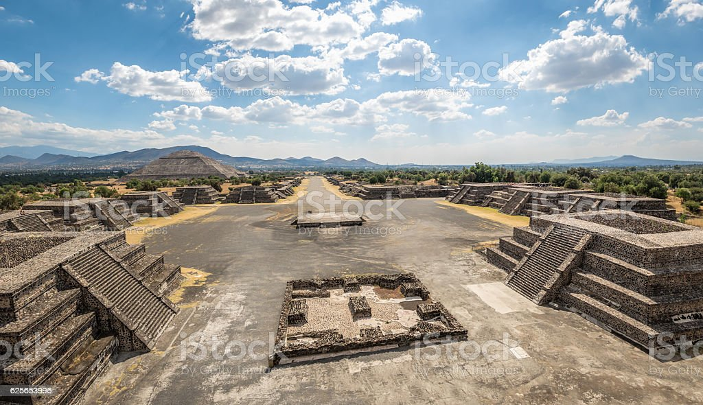 Moon Plaza and Dead Avenue - Teotihuacan, Mexico City, Mexico stock photo