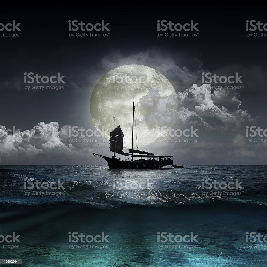 moon reflecting in a lake royalty-free stock photo