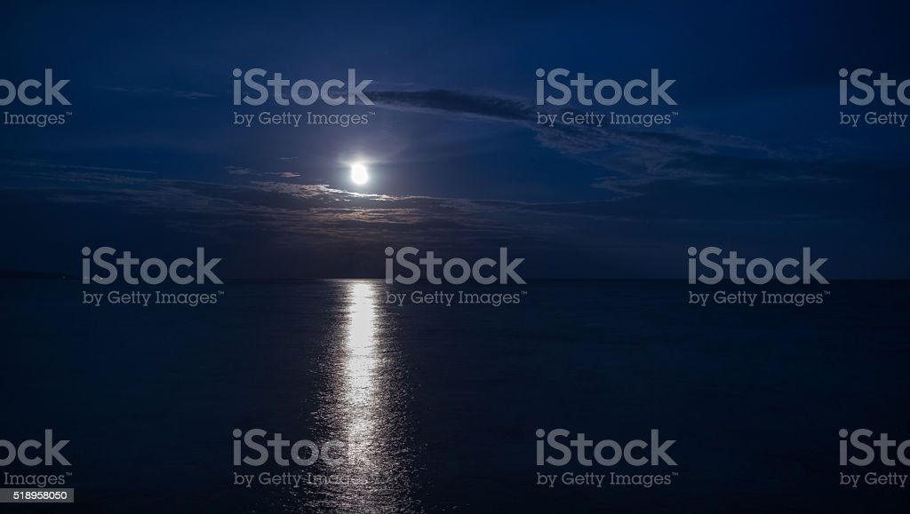 moon reflection over water stock photo