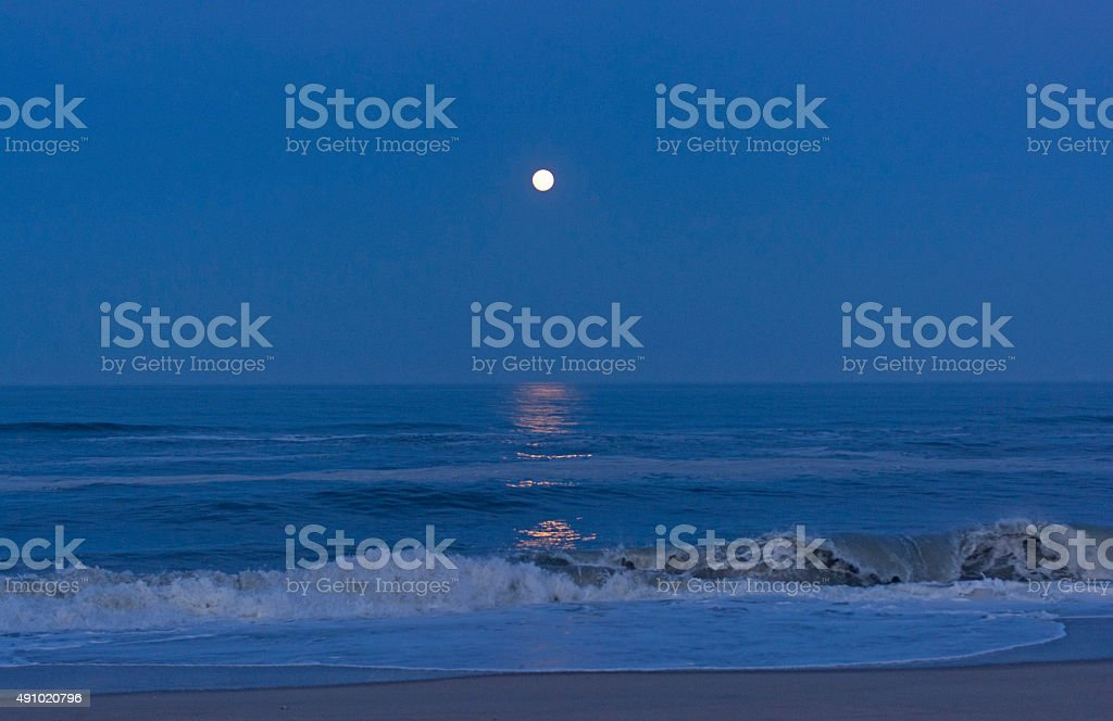 Moon Reflections in the Twilight stock photo