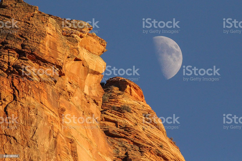 Moon Rise at Zion National Park stock photo
