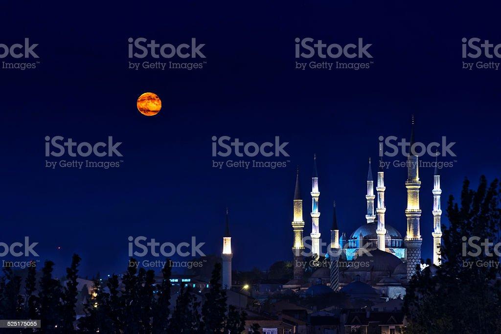 Moon Rise  in Selimiye Edirne stock photo