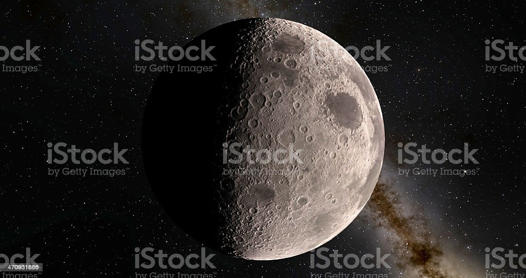 Moon scientific illustration stock photo