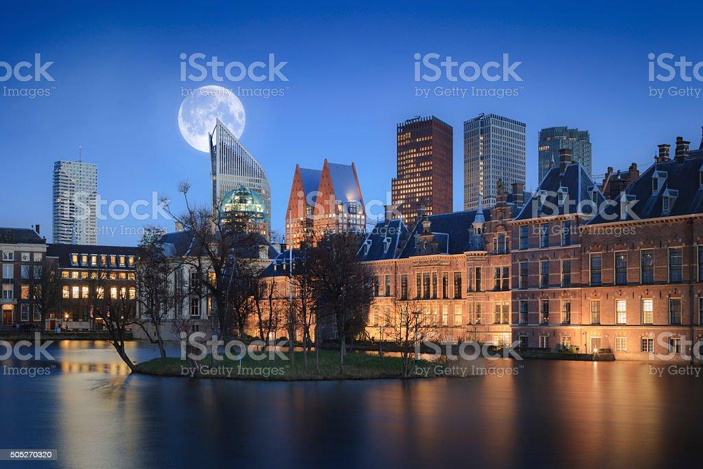 moon shining over The Hague stock photo