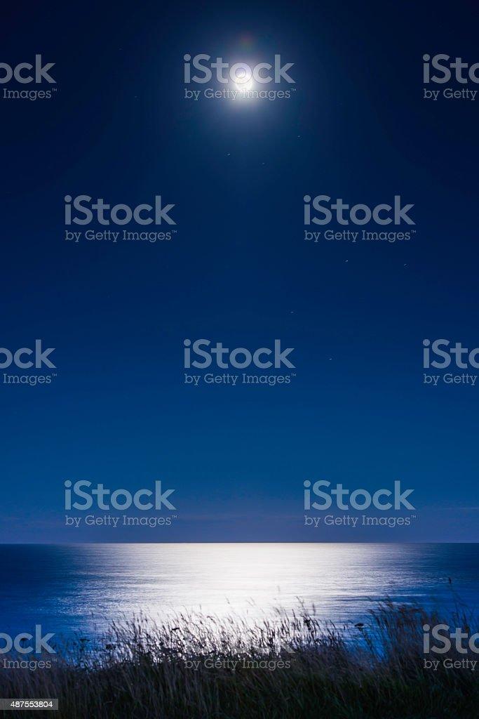 Moon shining over tranquil blue ocean summer dunes starry night stock photo