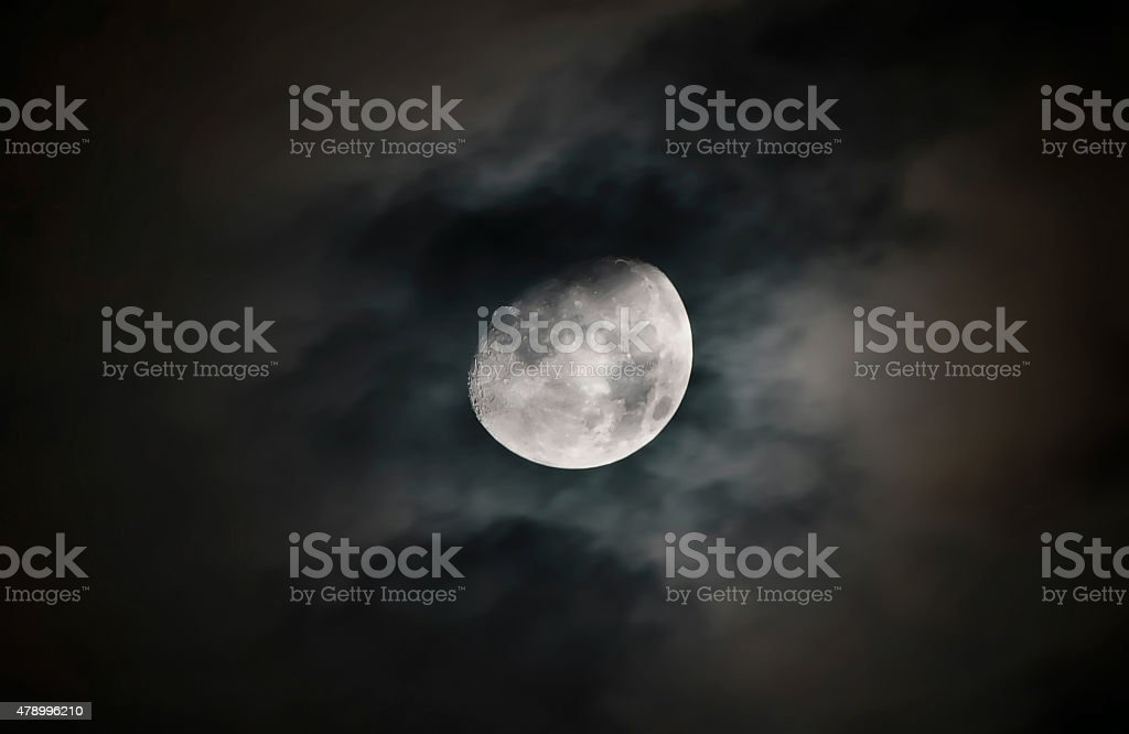 Moon surface with details stock photo