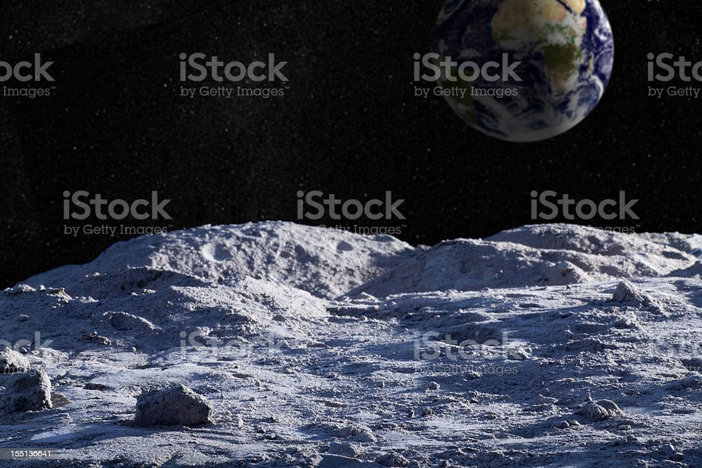 Moon surface with distant Earth and starfield stock photo