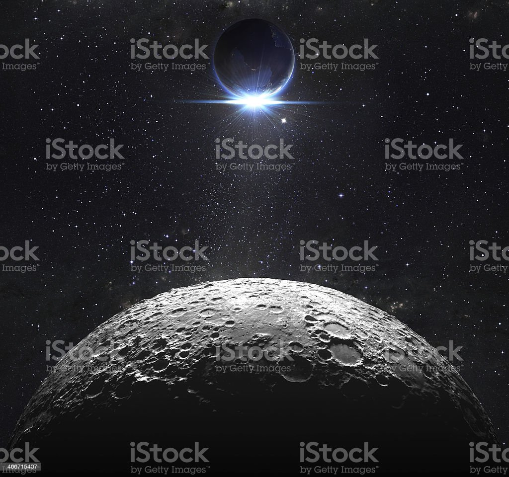 moon surface with view sunrise of the earth stock photo