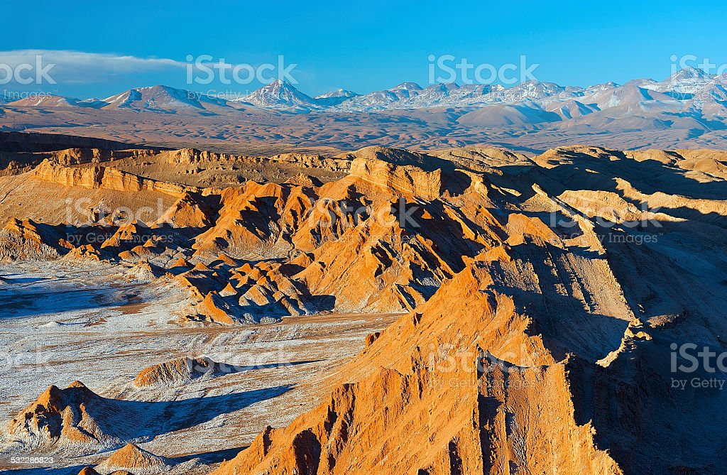 Moon valley, Atacama desert stock photo