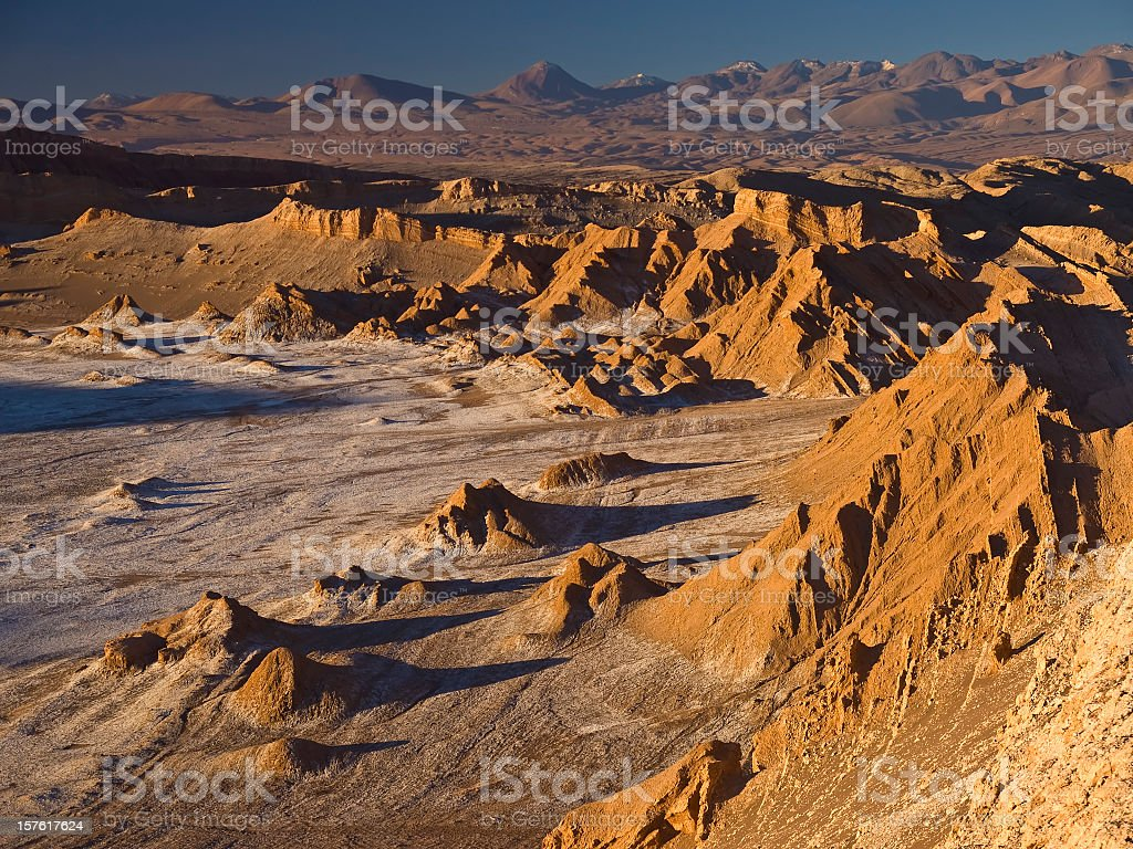 A moon valley of cliff and desert stock photo