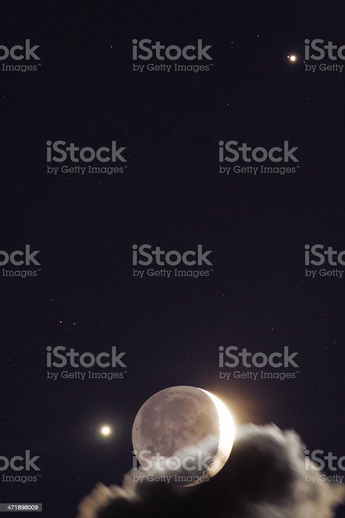 Moon, Venus and Jupiter Conjunction stock photo