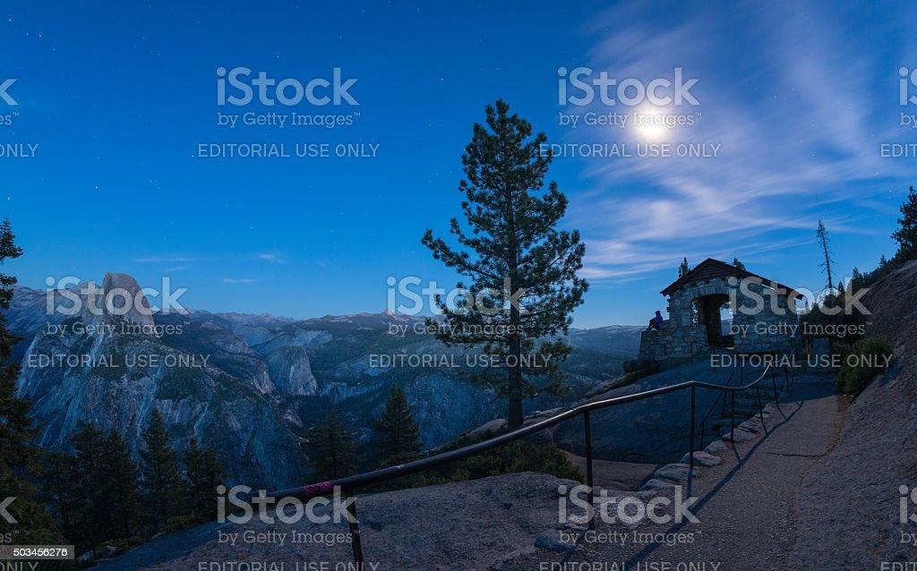 Moon Watching Yosemite stock photo