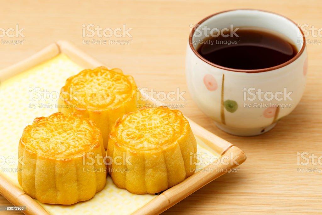 Mooncake and tea stock photo
