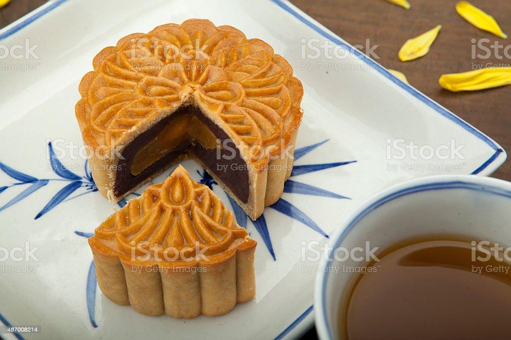 Mooncake and tea Vietnamese - Chinese mid autumn festival food stock photo