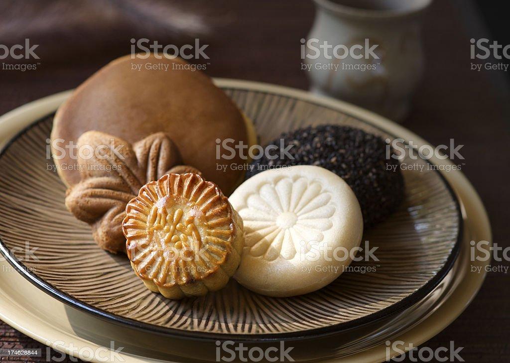 Mooncake, Dorayaki, Daifuku - Asian Pastries and Tea royalty-free stock photo