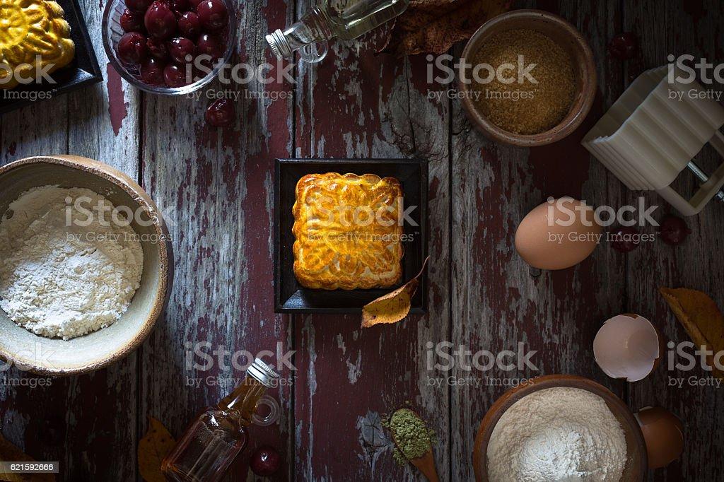 Mooncake ingredients stock photo