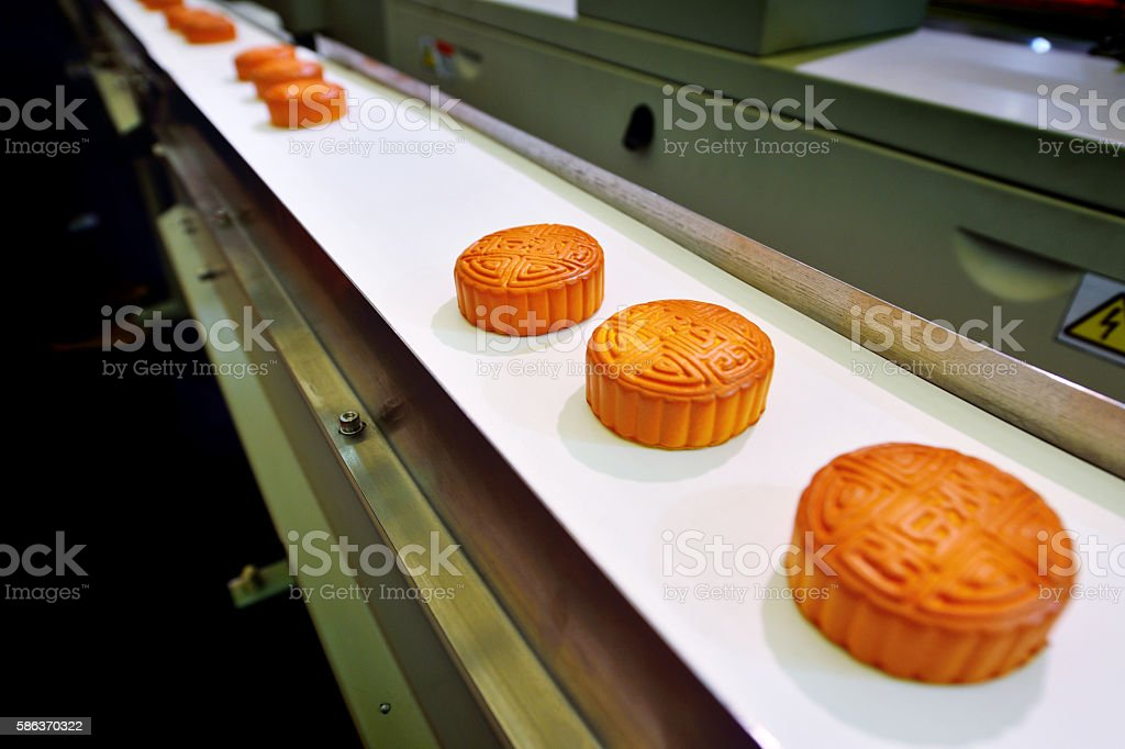 Mooncakes Production Line stock photo
