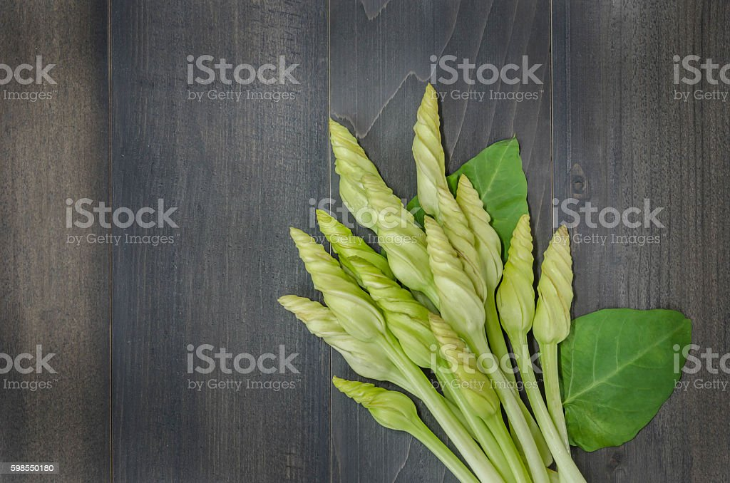 Moonflower on wooden stock photo