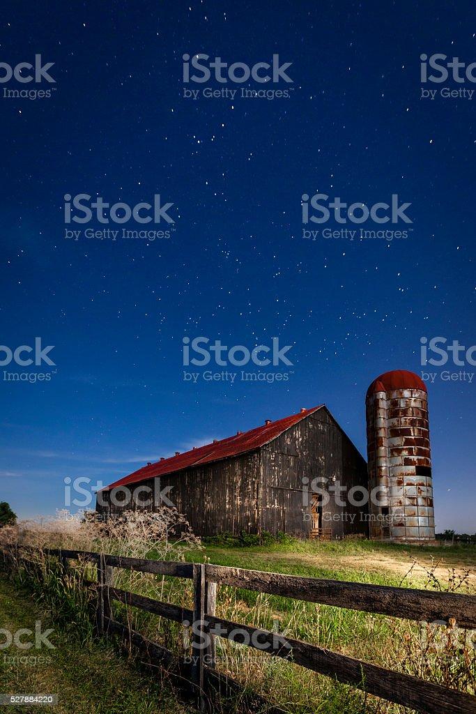 Moonlight farm stock photo