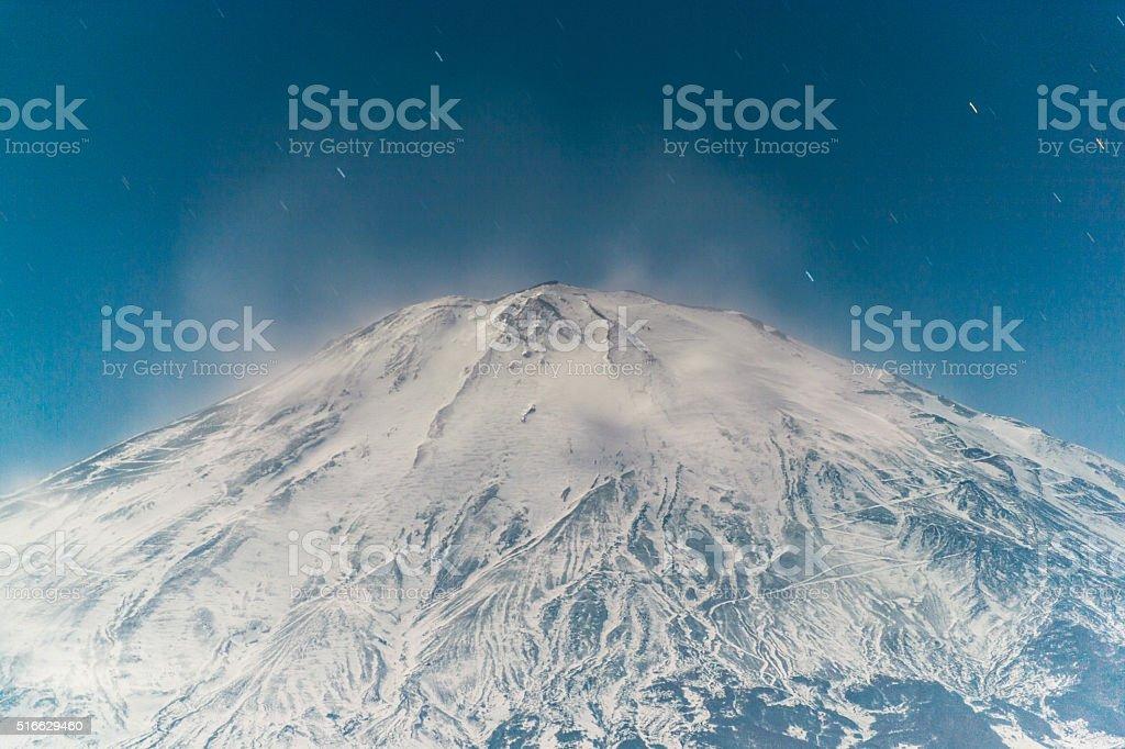 Moonlight Fuji stock photo