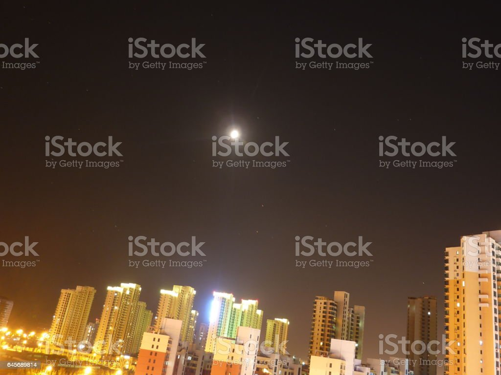 Moonlight in Huangdao stock photo