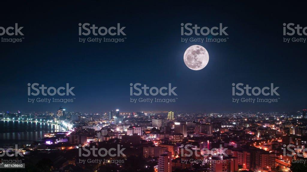Moonlight on The City Pattaya, Thailand stock photo
