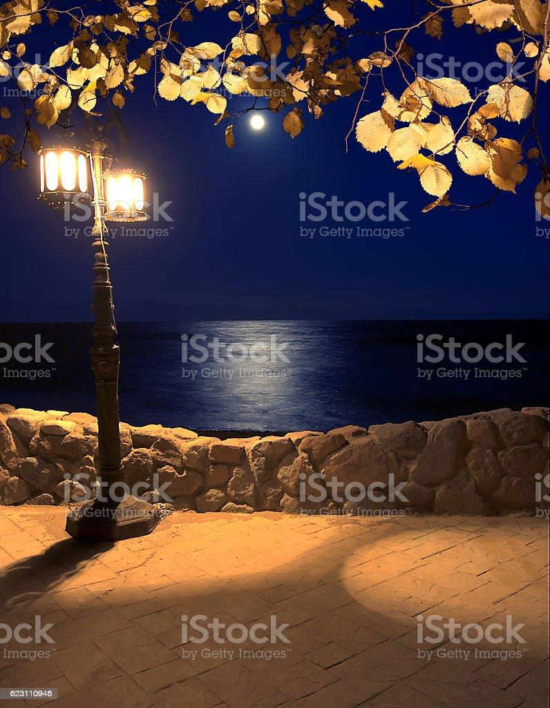 moonlight on the coast lantern stock photo