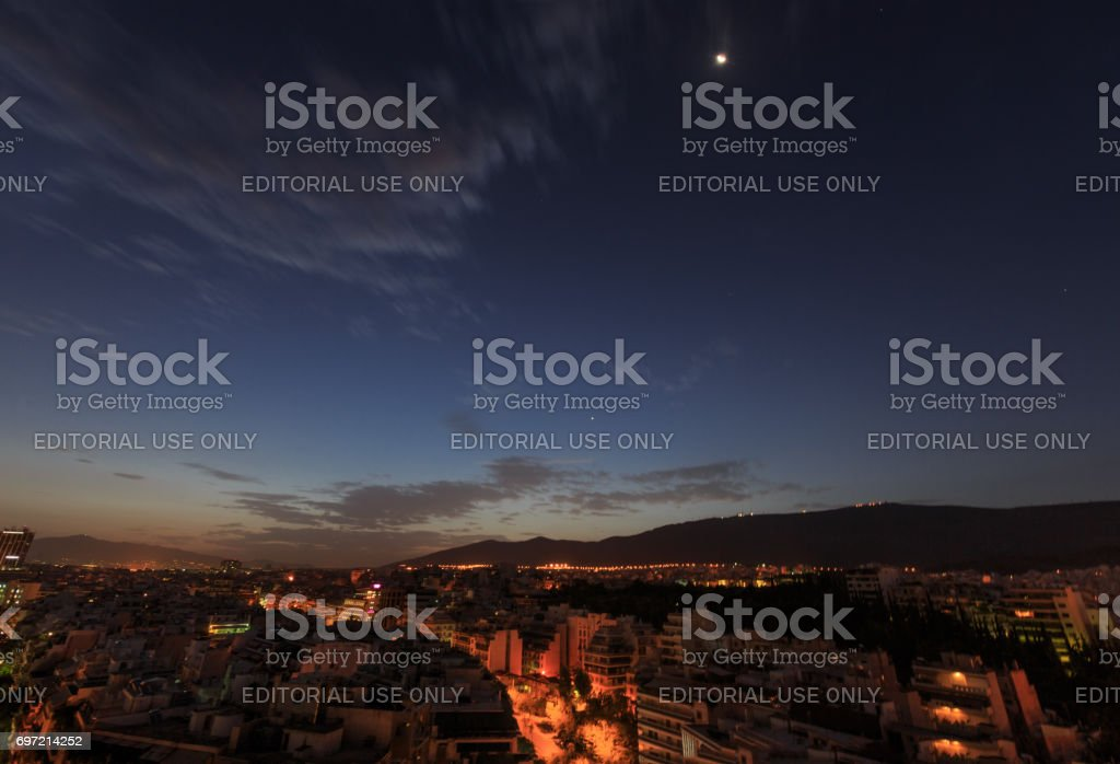 Moonlight over Athens stock photo