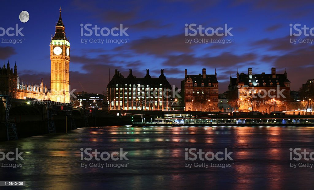 Moonlight over London royalty-free stock photo