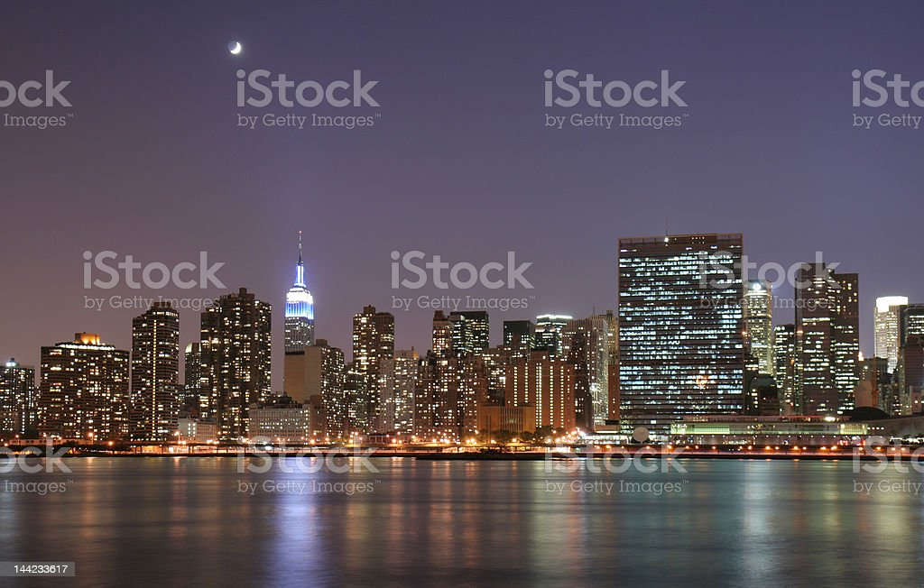 Moonlight over New York City royalty-free stock photo