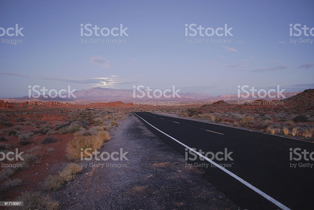 Moonlight over the Valley of Fire State Park, Nevada royalty-free stock photo