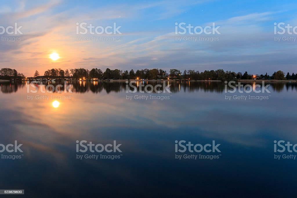 moonlight reflection in water, beautiful landscape at night stock photo