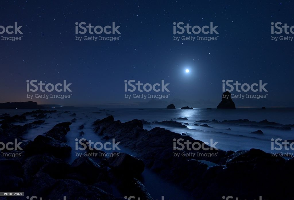 Moonlight Rocks stock photo