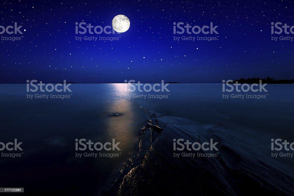 Moonlight seascape royalty-free stock photo
