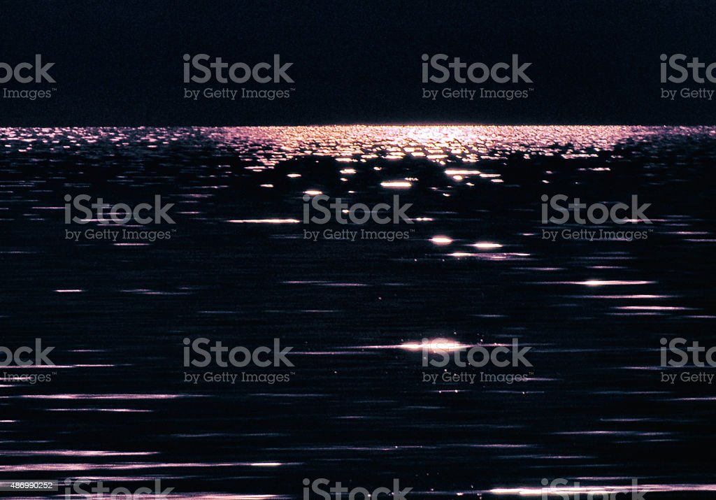 Moonlight Water Refections Highlights Night stock photo