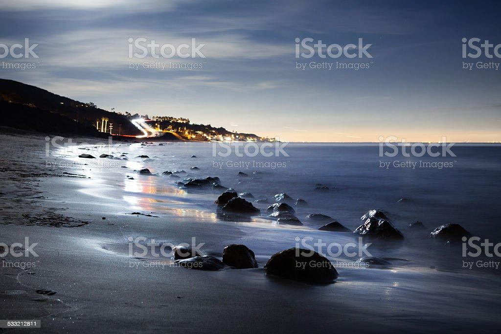 Moonlit Beach At Solstice Canyon in Malibu royalty-free stock photo