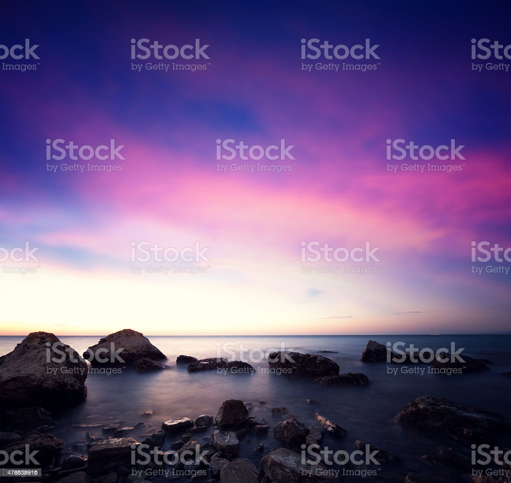 Moonlit Coastline stock photo